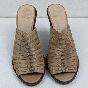 Elliott Lucca Tan/Beige Woven Heels Size 7.5
